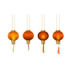 set chinese lantern glow paper lantern vector image