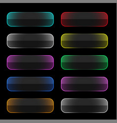 set colorful neon web buttons vector image