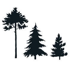 Set hand painted fire trees isolated on vector