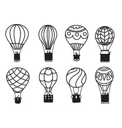 set of outline hot air balloons vector image