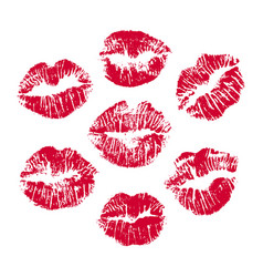set of red lip prints on white background red vector image