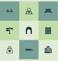 Set simple infrastructure icons elements vector