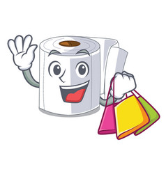 shopping character toilet paper rolled on wall vector image
