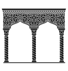 Silhouette arched eastern facade capitals vector