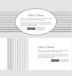 Silver chains promotional internet posters set vector