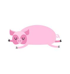 sleeping pig farm animal is sleeping sleepy swine vector image
