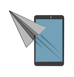 Smartphone with paperplane icon image vector