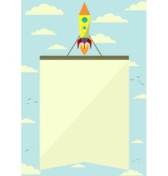 Space rocket with a banner flying upwards vector