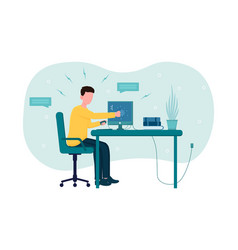 stressed angry office worker breaks computer vector image