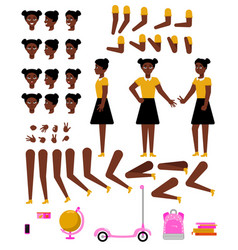 student african girl creation kit with school vector image