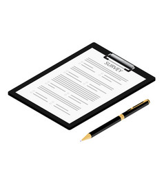 survey or exam form paper document and ballpoint vector image