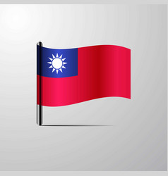 taiwan waving shiny flag design vector image