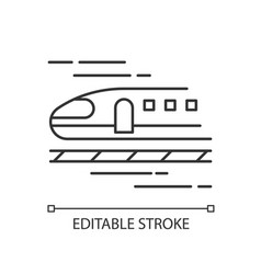Train pixel perfect linear icon high speed vector