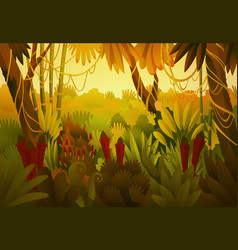 tropical jungle dark background forest vector image