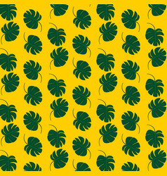 tropical leaf pattern design with yellow vector image