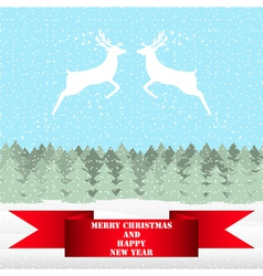 Two reindeer in Christmas fairy forest vector