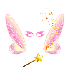 Video chat fairy wings face selfie effect photo vector