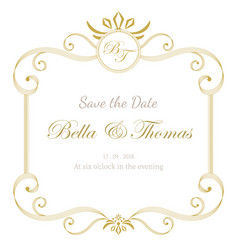 Vintage luxury invitation wedding card minimal vector