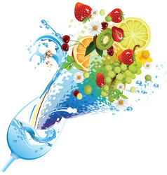 water and fruit cocktail vector image