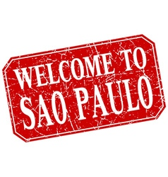 Welcome to sao paulo red square grunge stamp vector