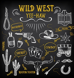 Wild west design sketch Icons drawing vintage vector image