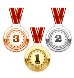 Winner silver bronze and gold medals on ribbon vector