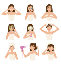 woman morning routine icon set vector image
