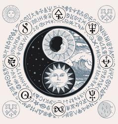 Yin yang symbol with sun moon stars sea waves vector