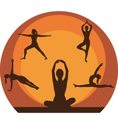 Yoga women silhouette vector