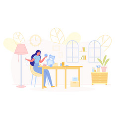 Young skilled woman creating handmade toys at home vector