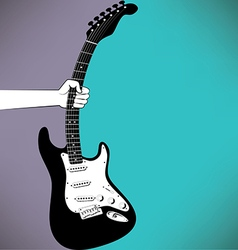 A hand grabs an electric guitar vector image vector image