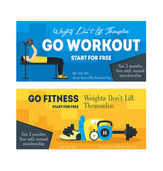 cartoon fitness sport banner card horizontal set vector image vector image