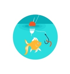 Gold fish on the hook vector image vector image