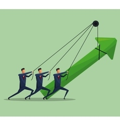 men teamwork business growth arrow vector image