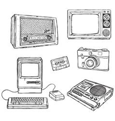 Old media equipment vector image