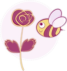 pink rose with bee vector image vector image