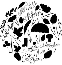 Set of autumn items black and white silhouettes vector image vector image