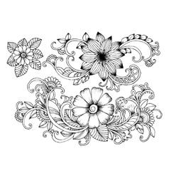 Set of doodle floral elements for design or vector image vector image