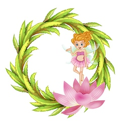 A round border design with a fairy in a pink dress vector image vector image