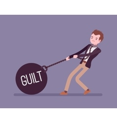 Businessman dragging a weight Guilt on chain vector image