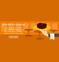 meat dish in a restaurant banner horizontal vector image