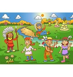 Red indian cartoon vector