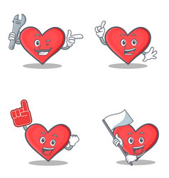 set of heart character with mechanic foam finger vector image vector image