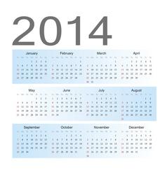 Simple blue european 2014 calendar vector image