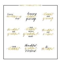 Thanksgiving gold lettering set vector