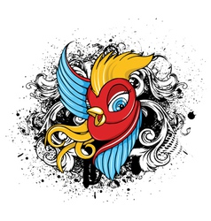 bird with grunge vector image
