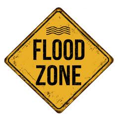 flood zone vintage rusty metal sign vector image vector image
