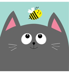Gray cat head looking at honey bee insect Cute vector image