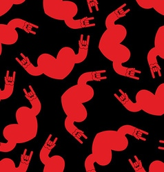Heart rock hand sign seamless pattern Background vector image vector image
