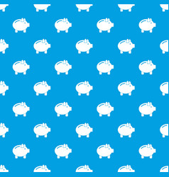 piggy bank pattern seamless blue vector image